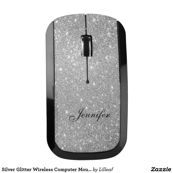 Silver Glitter Wireless Computer Mouse