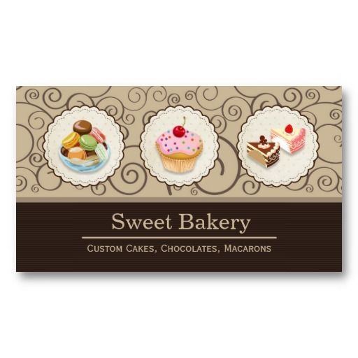 7 best business card images on pinterest bakery business cards custom cupcakes macaroons dessert bakery store business card templates fbccfo Gallery