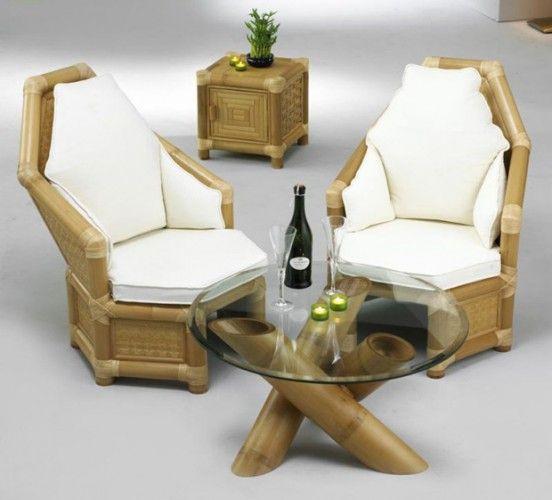 sillones y mesa de bamb