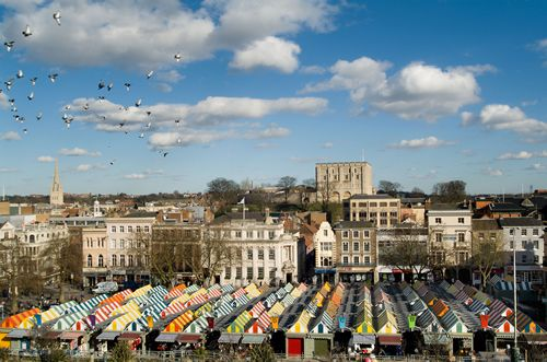 Norwich Market Place & Castle, Norfolk