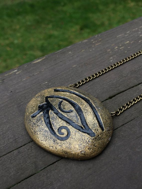 Eye Of Ra  Golden Egyptian Pendant  Handcrafted Clay #diy #Crafts #frequencygear #TheCosmicGarden