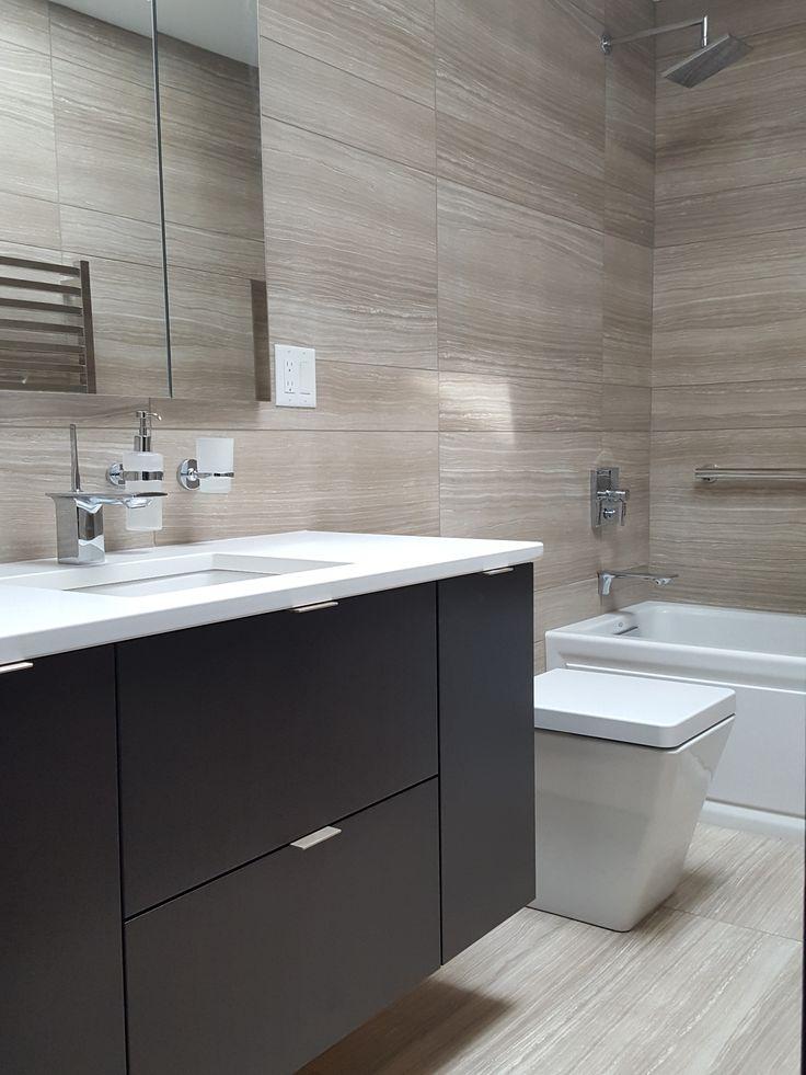 redoing bathroom%0A Wall hung espresso vanity  quartz counter  Kohler alcove tub  Kohler  faucets  large