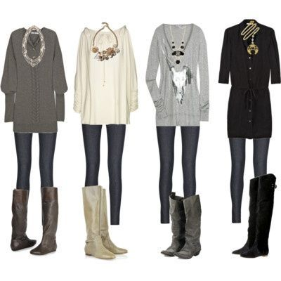 long sweaters and leggings | Long Sweater, Leggings and Rider Boots, I love this comfy ... | My St ...: Big Necklaces, Big Sweaters, Outfit Idea, Sweaters Tights, Long Sweaters, Jeans, Styles, Fall Outfit, Sweaters Boots