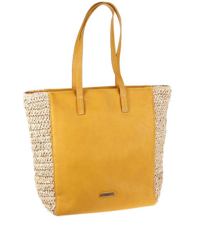 Kbas taška zo sušenej slamy/rafie a s nepremokavým materiálom horčicová