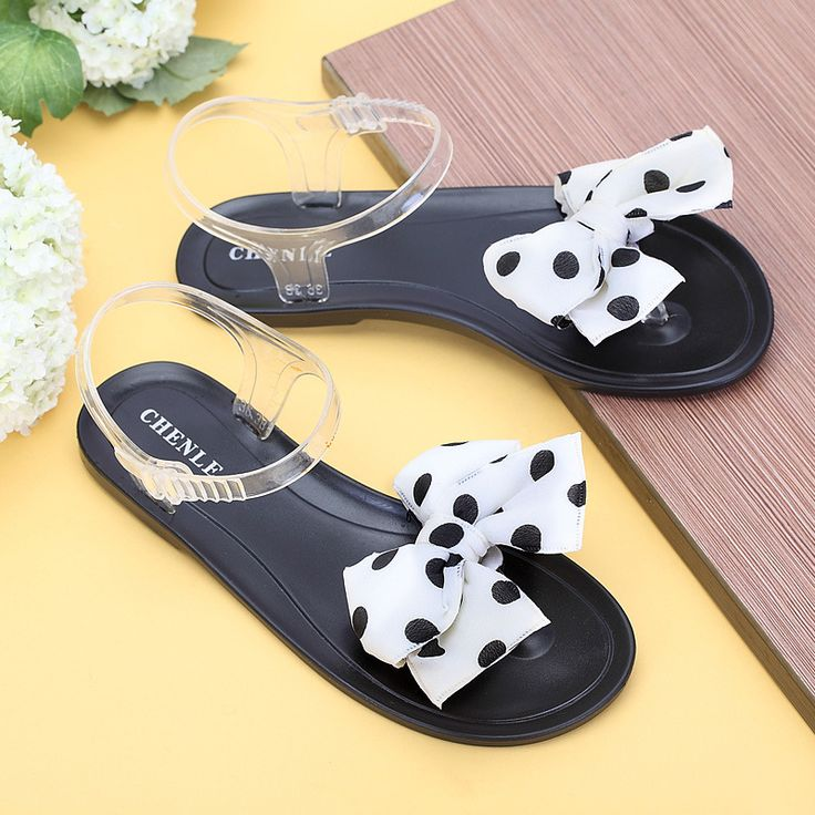 Women Shoes Summer Transparent Jelly Shoes Wave Point Bowknot Female Summer Sandals for Beach Flip Flops