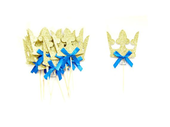 12 Gold Prince Crown Cupcake Toppers  Crown Cupcake by Pelemele