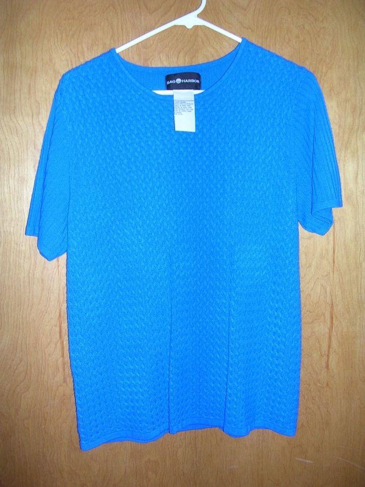 Sag Harbor womens size L short sleeve sweater royal blue basket weave design #SagHarbor #sweatershortsleeve