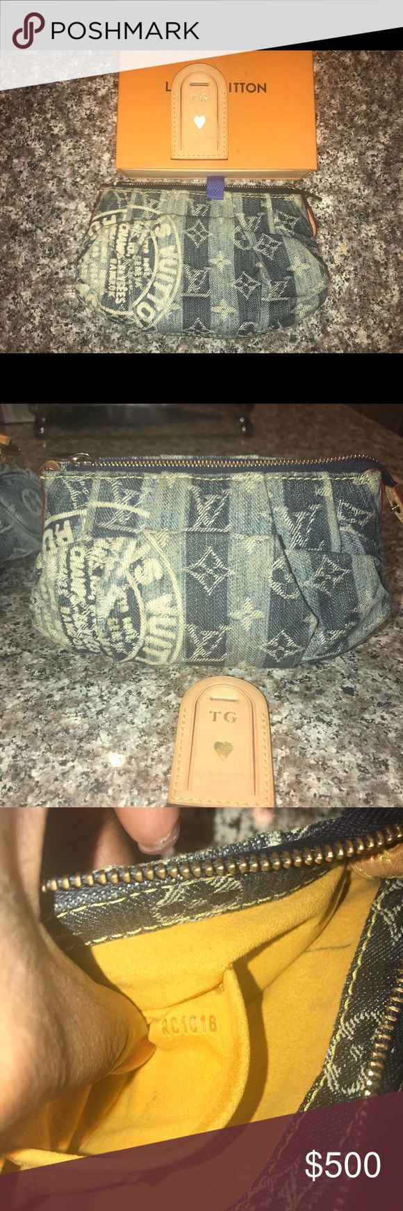 "Lois Vuitton Denim Stripe Cruise TROUSSE RAYE RARE Louis Vuitton Monogram Denim Cruise TROUSSE RAYE RARE  Most Wanted!!  ❤️ has a side snap that can attach wristlet strap 🧡	W7.5""×H3.9""×D1.2"" ❤️Signature monogram blue denim in a striped pattern with an iconic ""Trunks & Bags"" stamp!! ❤️Features one large top zipper main compartment and one small sidewall pouch inside!! ❤️Classic and shiny, golden toned Louis Vuitton engraved brass hardware throughout!! ❤️Normal signs of wear.  Light pen mark…"