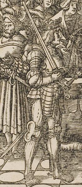 1516.Der Weisskunig.Detail Maximilian(or possibly his son,Philip)holding ceremonial sword.Молодой Белый король любил рыцар.игры и принимал в них участие. Излюбл.занятие-охота. Охота была в то время одним из основных занятий дворян,её использовали и для воен.тренировок.Когда король охотился,он приобр. навыки,необход.для воен. деят-ти.Книга разделена на 3 части:1-я посв.жизни отца Максимилиана;2-я часть нач.с рожд.Максимилиана  в 1459 и заканч.его женитьбой в 1477 на Марии Бургундской.