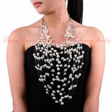 Attractive 2014 Autumn Brand New Design Jewelry20 Layered 5 Multi-color Cluster Pearl Beads Wedding Pendant 52cm Long Necklace(China (Mainland))