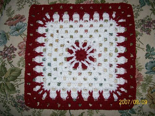 "Day 27: 12"" Block of the Day - Anne's Square by Anne Fatato  Free Pattern: http://aleftycrochets.blogspot.com/2008/08/annes-square-my-original-12-inch-sq.html  #TheCrochetLounge #12inch #grannysquare Pick #crochet"
