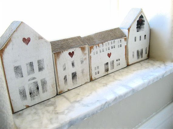 R E S E R V E DFive Vintage Wooden House Blocks by lovintagefinds