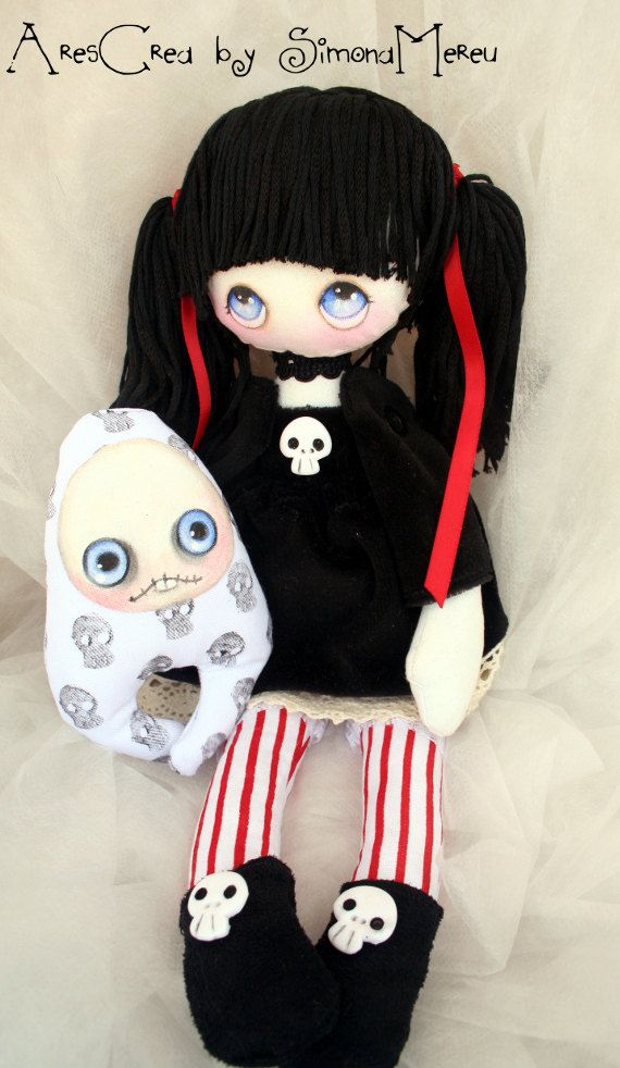 Abigail handmade #gothic cloth #doll with skulls and by AresCrea, $70.00