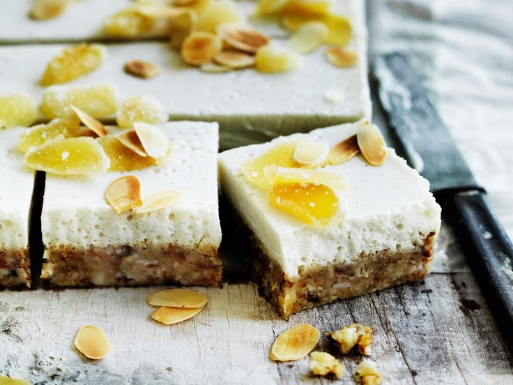Ginger slice lovers rejoice! This delicious vegan friendly slice is layered with creamy coconut and topped roasted flake almonds and crystallized ginger.