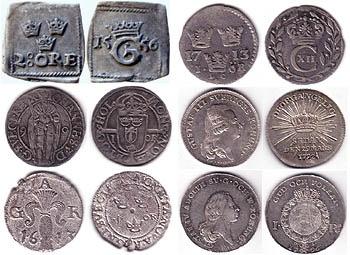 Några vackra moderna silvermynt och några bronsmynt.