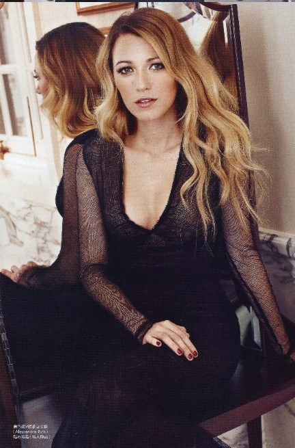 Blake Lively wearing Alessandra Rich Fall 2013 RTW V-neck Lace Dress ELLE China September 2013