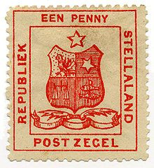 Postage stamps and postal history of Stellaland Republic:  1-penny postage stamp depicting the coat of arms February 1884.