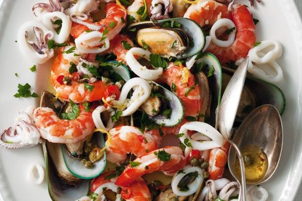 Fresh seafood tossed in a zesty garlic and lemon dressing is a classic Calabrian recipe.