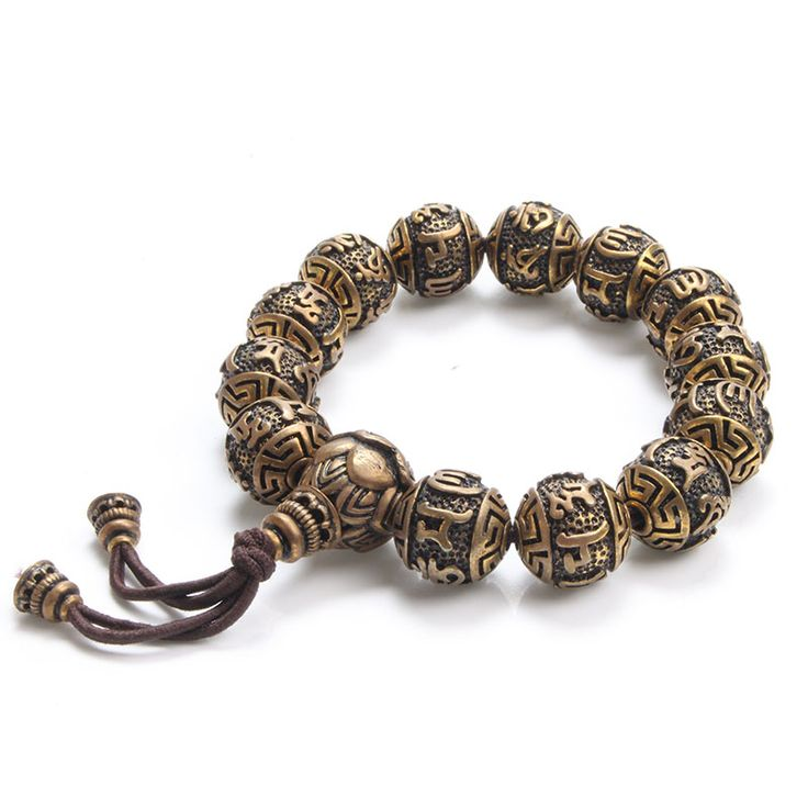 Vintage Tibetan Buddhism Brass Buddha Bracelet Six Words Mantras OM MANI PADME HUM Metal Amulets Charm Beads Bracelet For Men