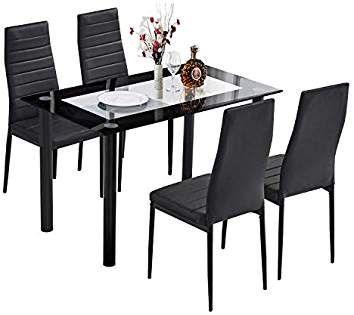 trustiwood 5 piece kitchen dining table set modern glass dinette set rh pinterest com