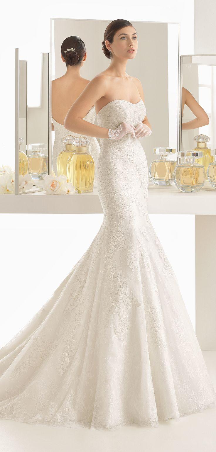Rosa Clara 2017 Wedding Dress   Mermaid-style lace dress with semi-sweetheart neckline