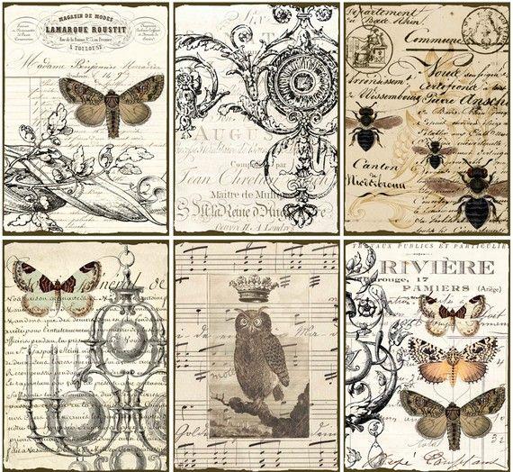 Téléchargement instantané numérique CoLLaGe feuille ViNtaGe EpHeMera papier chouette papillons imprimable VintAge LaBelS français SCriPts tachée, n16