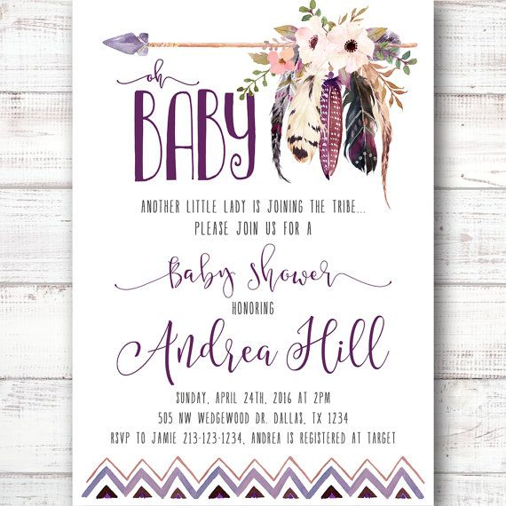 Tee Pee Aztec Tribal Southwest Boho Baby Shower by 21Willow