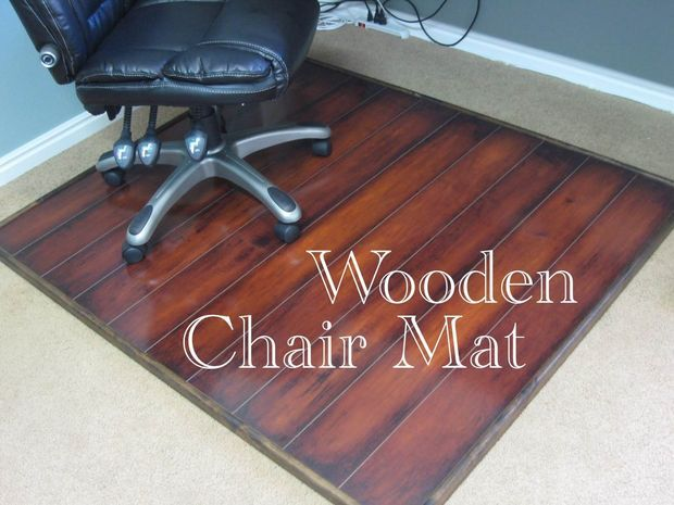 Make this for bill's desk using left over wood flooring.  From instructables.com Wooden Chair Mat