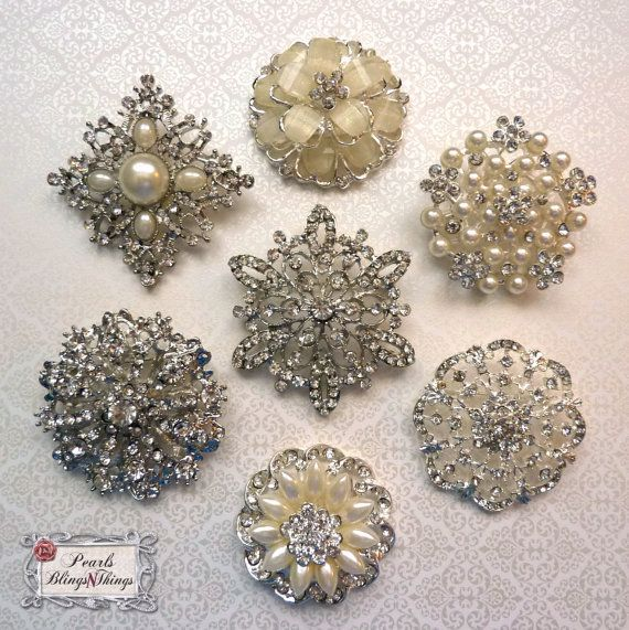 MOM- We need to get on this! It has the tones we want for the bouquet. Set of 6 (your choice) Large Bridal Silver by PearlsBlingsNThings, $19.90