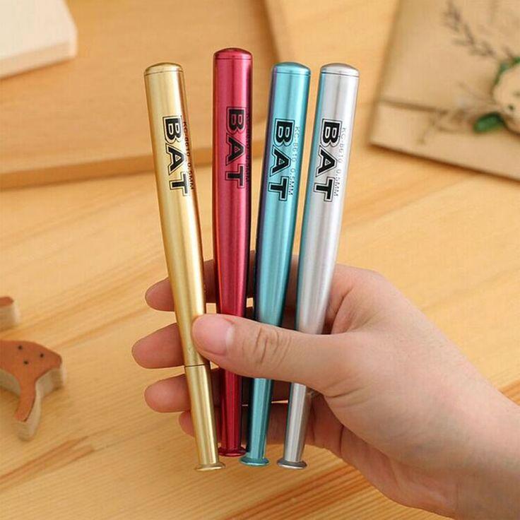 0.5mm Cute Metallic Baseball Bat Gel Pens Ink Marker Pen School Office Supply Escolar Papelaria Promotional Pen