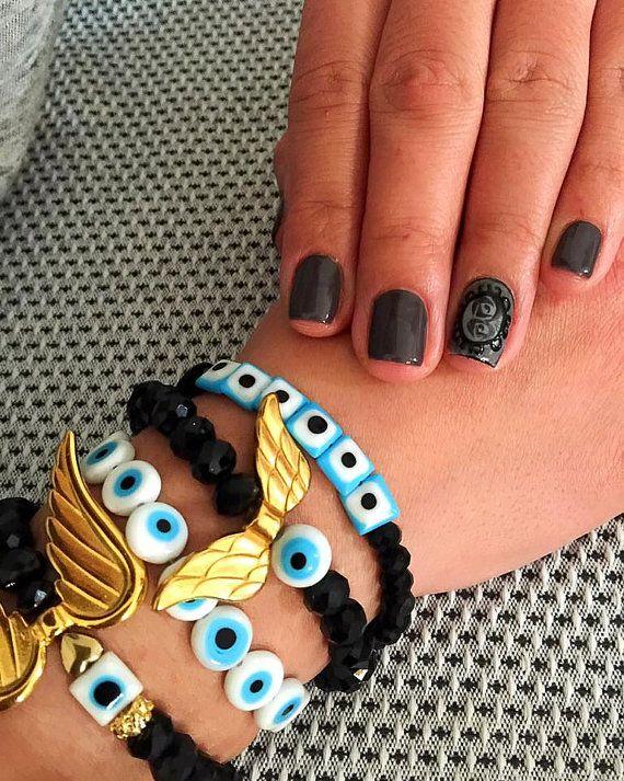 Eye Bracelet, Wing Bracelet, Black Bracelet, Protection Bracelet, Women's Bracelet, Lucky Bracelet, Stylish Bracelets, Jewelry for Women.