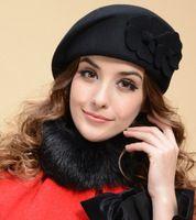New 2014 Fashion Women Beret Hat For Women Beanie Female Cap Flower French Trilby Wool Soft Stewardess Hat Free Shipping