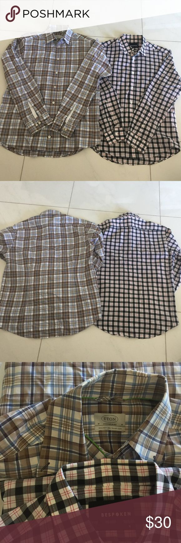 Two Trunk Club Dress Shirts Lot of 2 size M men's dress shirt. One from Bespoken for Trunk Club, the other Etonian for Trunk Club. Both in excellent condition. No stains or damage Shirts Dress Shirts
