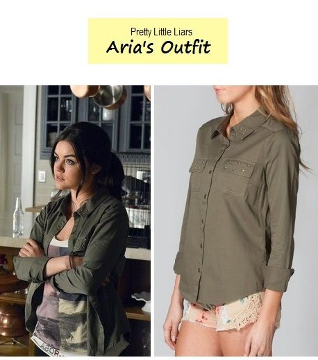 Lucy Hale as Aria Montgomery in Pretty Little Liars. Sneak peek from Season 4. Arias Outfit:Full Tilt Military Shirt $26.99 $17.99 here | Amazon. P.S. Check out more PLL sneak peek outfits from Season 4 here.  Source: ABC / Zimbio