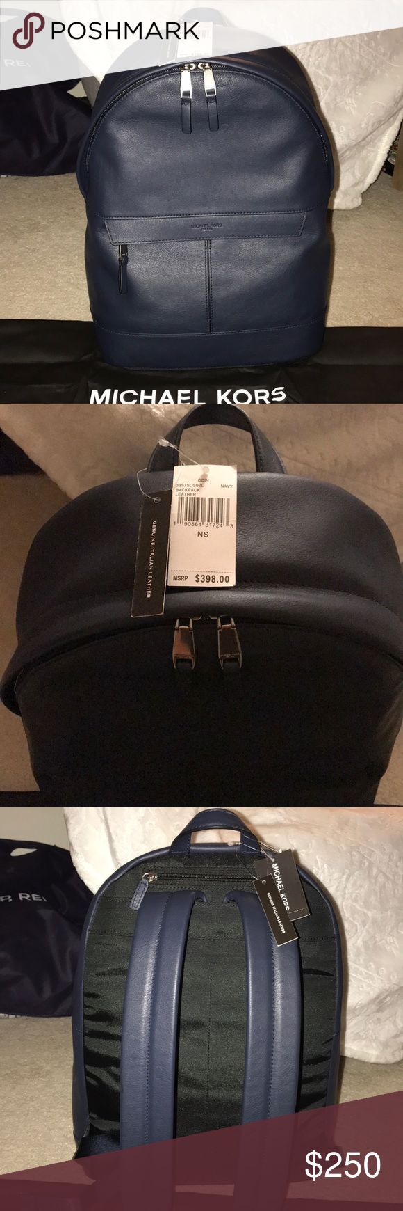 Genuine Leather Michael Kors Odin Backpack NWT Michael Kors smooth leather backpack Zipper closure Top carry handle, adjustable shoulder straps, front zipped pocket, top zipped pocket, interior zipped pocket, brand embossed Use specialist cleaner Height 40cm, width 30cm, depth 14cm Color: Navy Blue  Designed with the clean and minimalist style we've come to expect from Michael Kors, the Odin backpack is the ideal day-to-day companion. Whether for work or play, this sleek leather piece boasts…