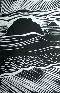 I bought a beautiful wood cut print by Merlyn Chesterman, sums up the amazing light and weather of the Hartland Peninsula perfectly.