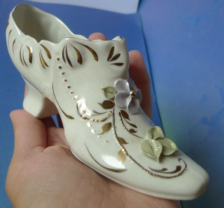 Old Porcelain Collectibles Shoe High Heel Figurine With