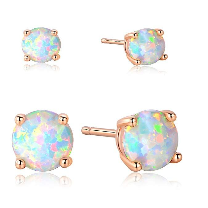 031c585ee Amazon.com: GEMSME 18K Rose Gold Plated 3/6mm Round Opal Stud Earrings Pack  of 2: Jewelry
