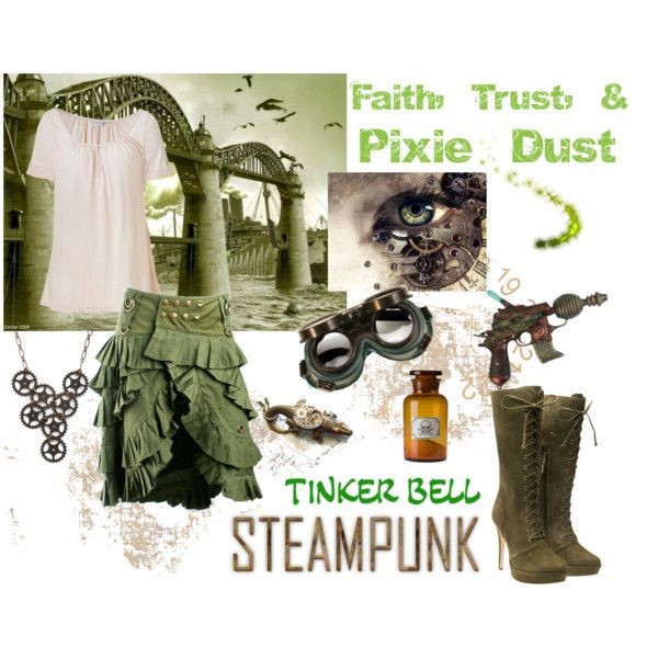 Steampunk Tink by pam-kyle-mcglaughlin on Polyvore featuring Michael Stars, Alexandre Birman, Ornamental Things, disney, steampunk, tinkerbell and steampunk tinkerbell. steampunk disney