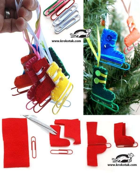 "#Christmas #decoration - DYI skates from felt and colored paper clips. these are so stinking cute. French club ""les alpes"" festival of trees"