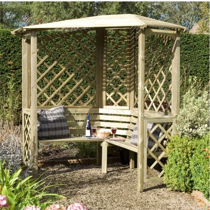 Blooma 5x5 Chiltern Wooden Corner Arbour - Home Delivered, 5397007007718
