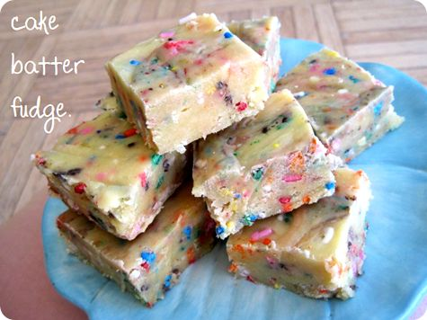 Cake batter fudge, because I need another reason to eat cake mix...and