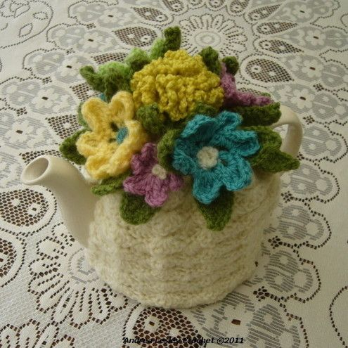 4-6 Cup Crochet Tea Cosy Cream with flowers made to order £19.00