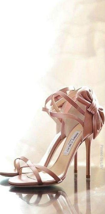 Jimmy Choo ~ Heel Bow Stiletto Sandals, Satin Rose