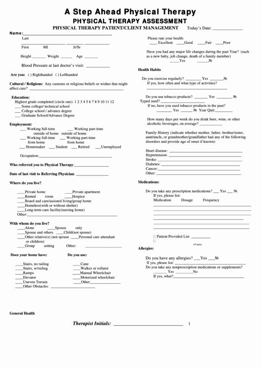 Physical therapy Evaluation form Template – versatolelive com