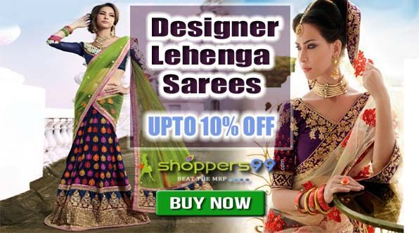 Get 10% Discount On Designer #LehengaSarees with the facility to purchase & pay online. Free Shipping. Buy Now: http://www.shoppers99.com