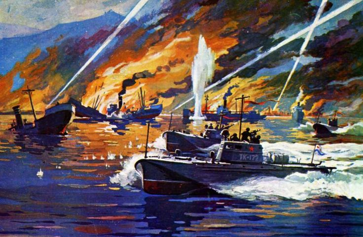 Атака советских торпедных катеров на немецкие транспортные суда