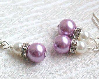 Collar de perlas lavanda, púrpura conjunto de collar y pendientes de joyas de la muchacha de flor, regalos de Dama de honor, joyería nupcial fiesta, joyería moldeada