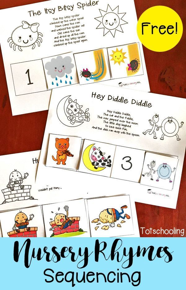 FREE printable set of Nursery Rhymes sequence puzzles, including Humpty Dumpty, Hey Diddle Diddle, Itsy Bitsy Spider, Baa Baa Black Sheep, Hickory Dickory Dock, Jack and Jill, and Three Blind Mice. Perfect for early literacy and reading comprehension for toddlers, preschool and kindergarten