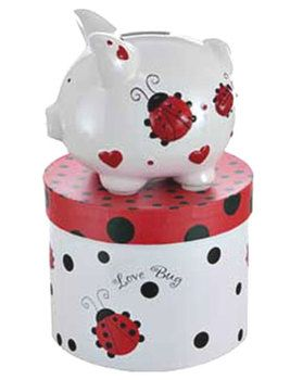Red Ladybugs & Hearts Small Piggy Bank (Personalization available) :: For That Occasion